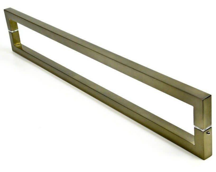Puxador Portas Duplo Aço Inox Antique Ouro Velho Slin 1,5 m para portas: pivotantes/madeira/vidro temperado/porta alumínio e portões   - Loja do Puxador
