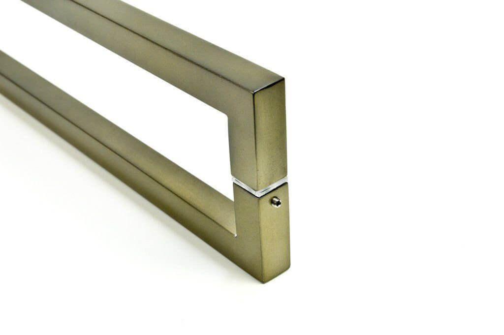 Puxador Portas Duplo Aço Inox Antique Ouro Velho Slin 60 cm para portas: pivotantes/madeira/vidro temperado/porta alumínio e portões   - Loja do Puxador