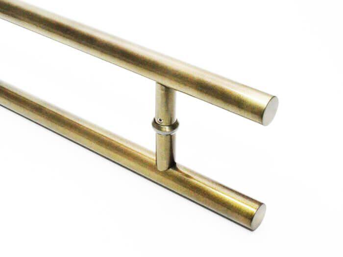 Puxador Portas Duplo Aço Inox Antique Ouro Velho Soft 40 cm para portas: pivotantes/madeira/vidro temperado/porta alumínio e portões   - Loja do Puxador