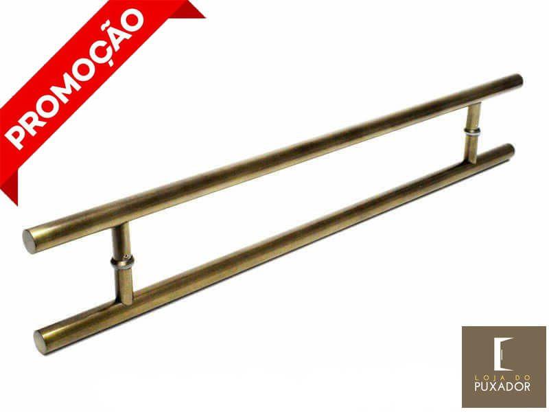 Puxador Portas Duplo Aço Inox Antique Ouro Velho Soft 60 cm para portas: pivotantes/madeira/vidro temperado/porta alumínio e portões   - Loja do Puxador
