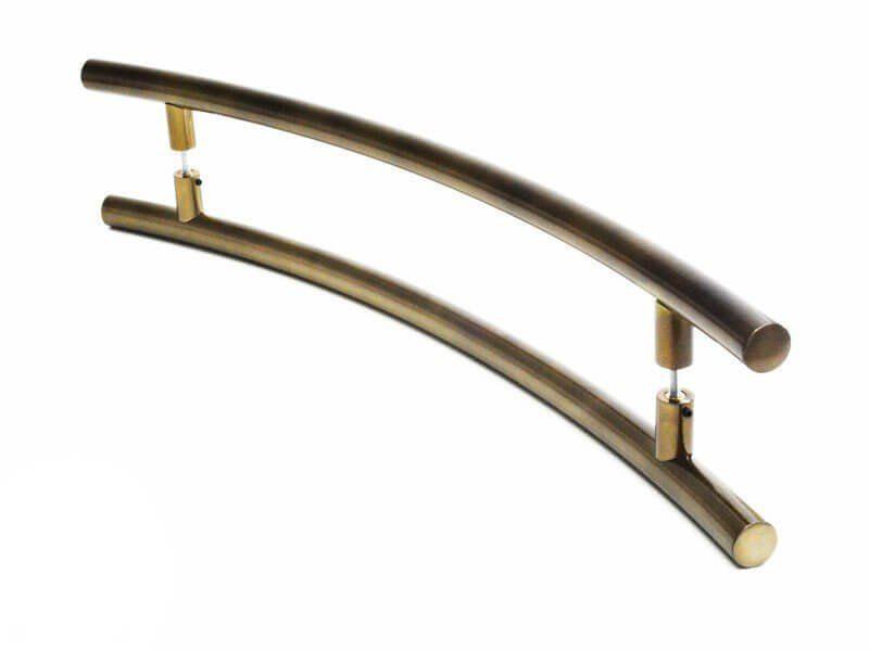 Puxador Portas Duplo Aço Inox Antique Ouro Velho Solares 60 cm para portas: pivotantes/madeira/vidro temperado/porta alumínio e portões   - Loja do Puxador