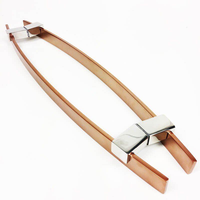 Puxador Portas Duplo Aço Inox Cobre Acetinado Alba 1,2 m para portas: pivotantes/madeira/vidro temperado/porta alumínio e portões   - Loja do Puxador