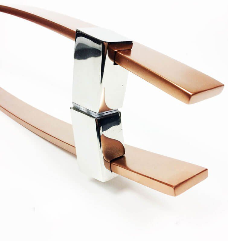 Puxador Portas Duplo Aço Inox Cobre Acetinado Alba 70 cm para portas: pivotantes/madeira/vidro temperado/porta alumínio e portões   - Loja do Puxador