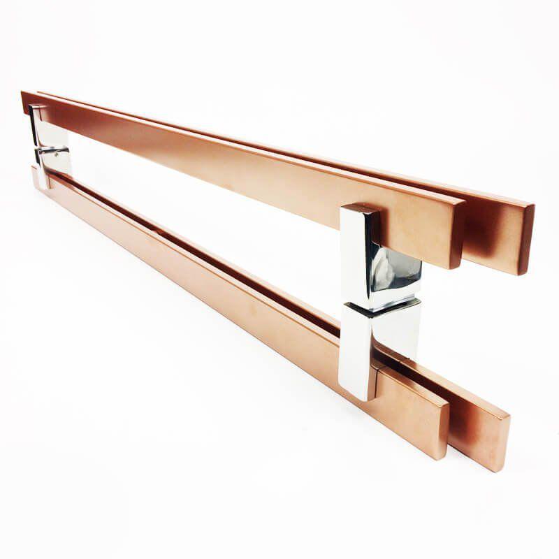 Puxador Portas Duplo Aço Inox Cobre Acetinado Aquarius 1 m para portas: pivotantes/madeira/vidro temperado/porta alumínio e portões  - Loja do Puxador