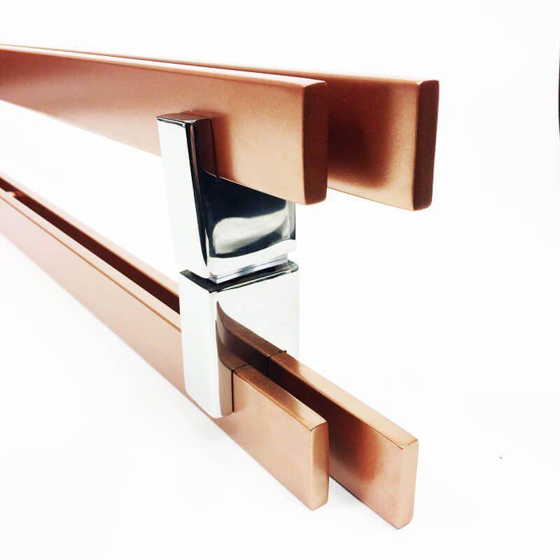 Puxador Portas Duplo Aço Inox Cobre Acetinado Aquarius 60 cm para portas: pivotantes/madeira/vidro temperado/porta alumínio e portões  - Loja do Puxador