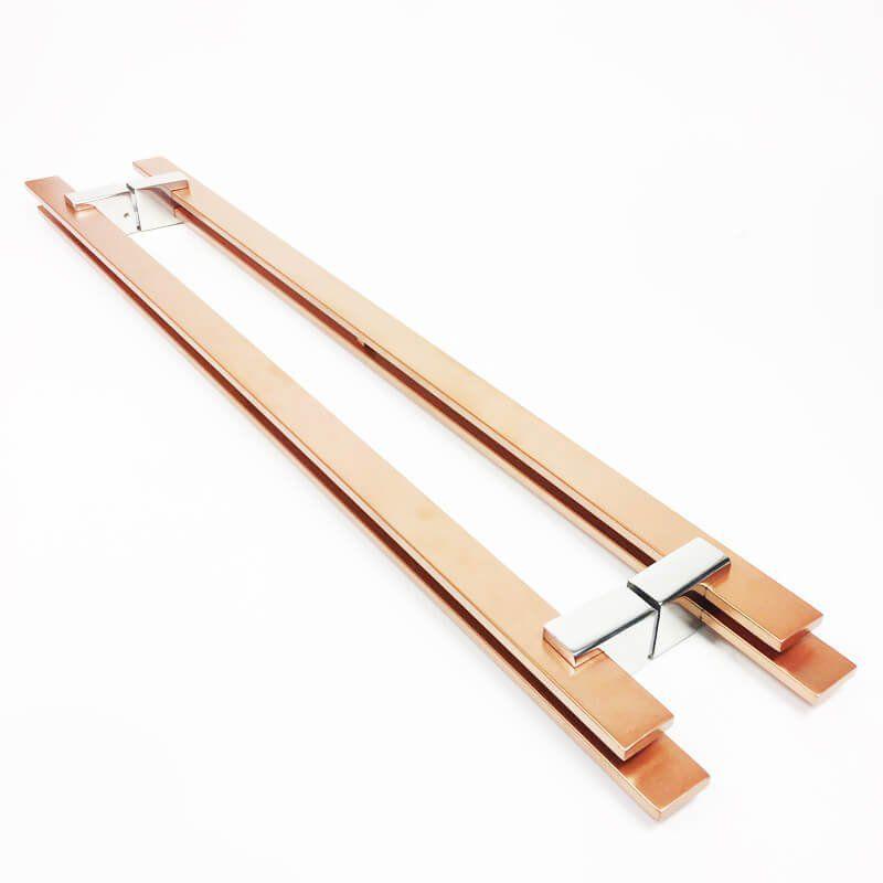 Puxador Portas Duplo Aço Inox Cobre Acetinado Aquarius 80 cm para portas: pivotantes/madeira/vidro temperado/porta alumínio e portões  - Loja do Puxador