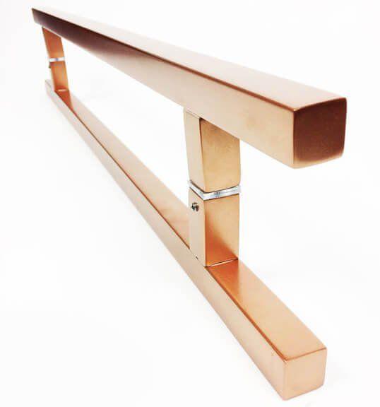 Puxador Portas Duplo Aço Inox Cobre Acetinado Aristocrata 30 cm para portas: pivotantes/madeira/vidro temperado/porta alumínio e portões   - Loja do Puxador