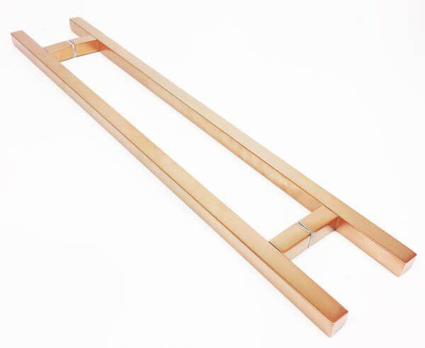 Puxador Portas Duplo Aço Inox Cobre Acetinado Aristocrata 50 cm para portas: pivotantes/madeira/vidro temperado/porta alumínio e portões   - Loja do Puxador
