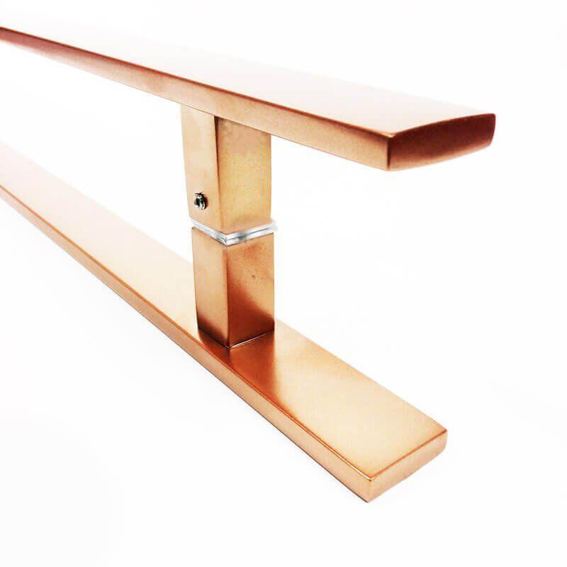 Puxador Portas Duplo Aço Inox Cobre Acetinado Clean 50 cm para portas: pivotantes/madeira/vidro temperado/porta alumínio e portões   - Loja do Puxador