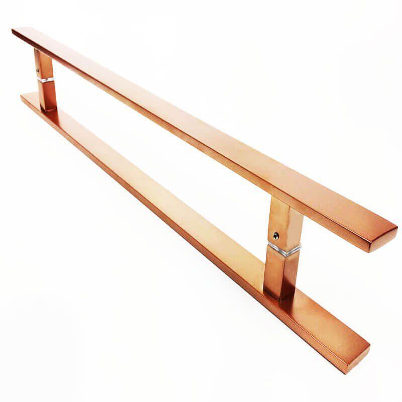 Puxador Portas Duplo Aço Inox Cobre Acetinado Clean 60 cm para portas: pivotantes/madeira/vidro temperado/porta alumínio e portões  - Loja do Puxador