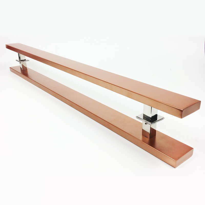 Puxador Portas Duplo Aço Inox Cobre Acetinado Grand Clean 1,5 m para portas: pivotantes/madeira/vidro temperado/porta alumínio e portões   - Loja do Puxador