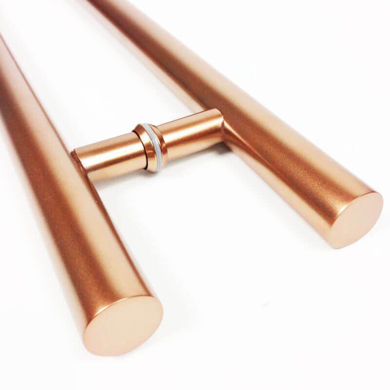Puxador Portas Duplo Aço Inox Cobre Acetinado Grand Soft 1,2 m para portas: pivotantes/madeira/vidro temperado/porta alumínio e portões  - Loja do Puxador