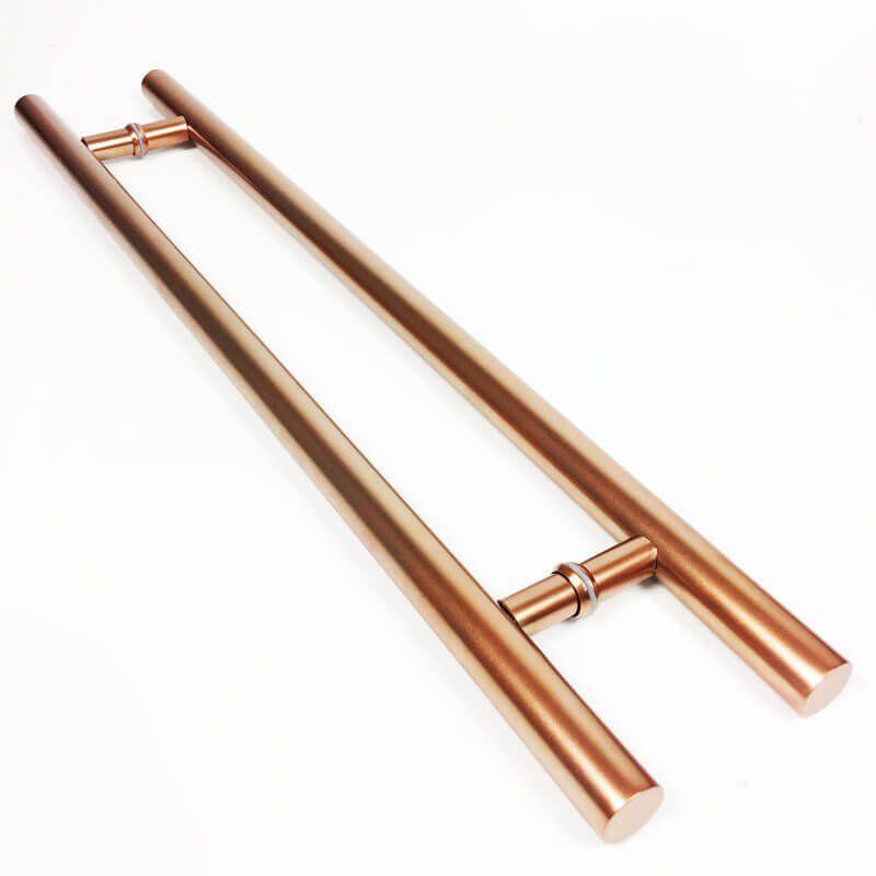 Puxador Portas Duplo Aço Inox Cobre Acetinado Grand Soft 1,8 m para portas: pivotantes/madeira/vidro temperado/porta alumínio e portões  - Loja do Puxador