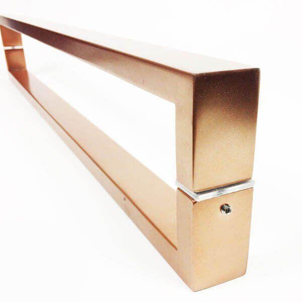 Puxador Portas Duplo Aço Inox Cobre Acetinado Greco 40 cm para portas: pivotantes/madeira/vidro temperado/porta alumínio e portões   - Loja do Puxador