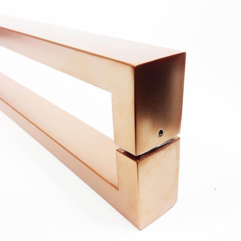 Puxador Portas Duplo Aço Inox Cobre Acetinado Hércules 80 cm para portas: pivotantes/madeira/vidro temperado/porta alumínio e portões   - Loja do Puxador