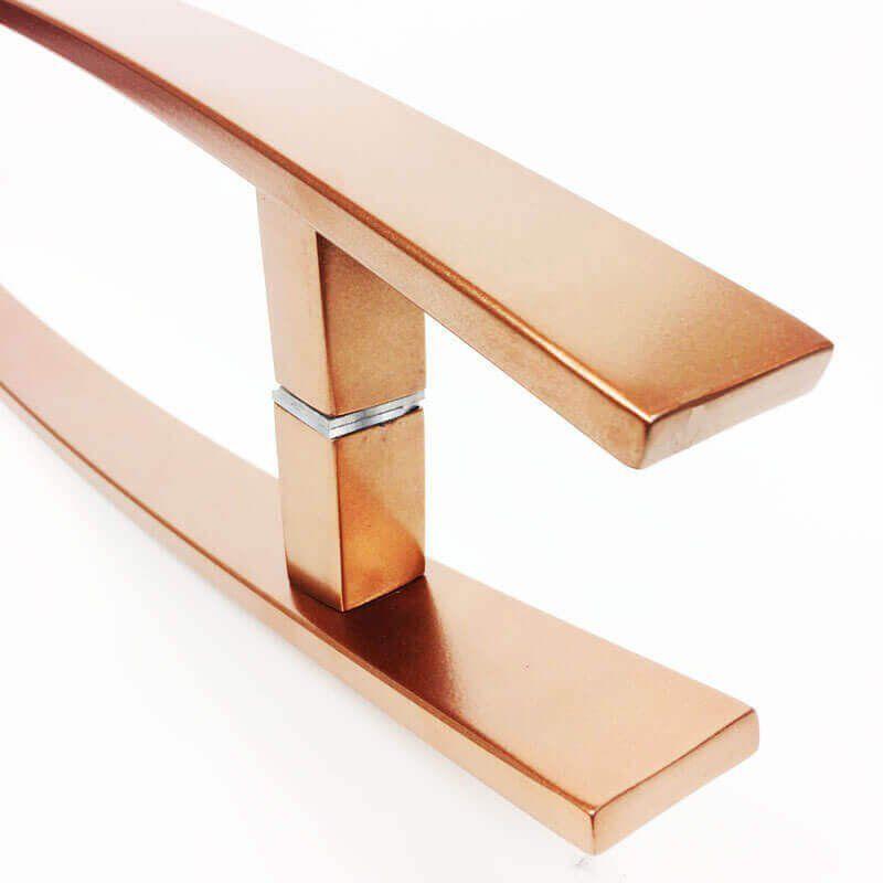 Puxador Portas Duplo Aço Inox Cobre Acetinado Lugui 30 cm para portas: pivotantes/madeira/vidro temperado/porta alumínio e portões   - Loja do Puxador