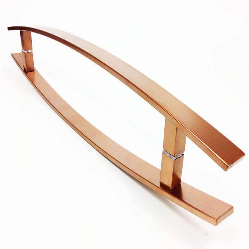 Puxador Portas Duplo Aço Inox Cobre Acetinado Lugui 60 cm para portas: pivotantes/madeira/vidro temperado/porta alumínio e portões   - Loja do Puxador