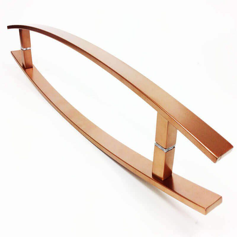 Puxador Portas Duplo Aço Inox Cobre Acetinado Lugui 80 cm para portas: pivotantes/madeira/vidro temperado/porta alumínio e portões   - Loja do Puxador