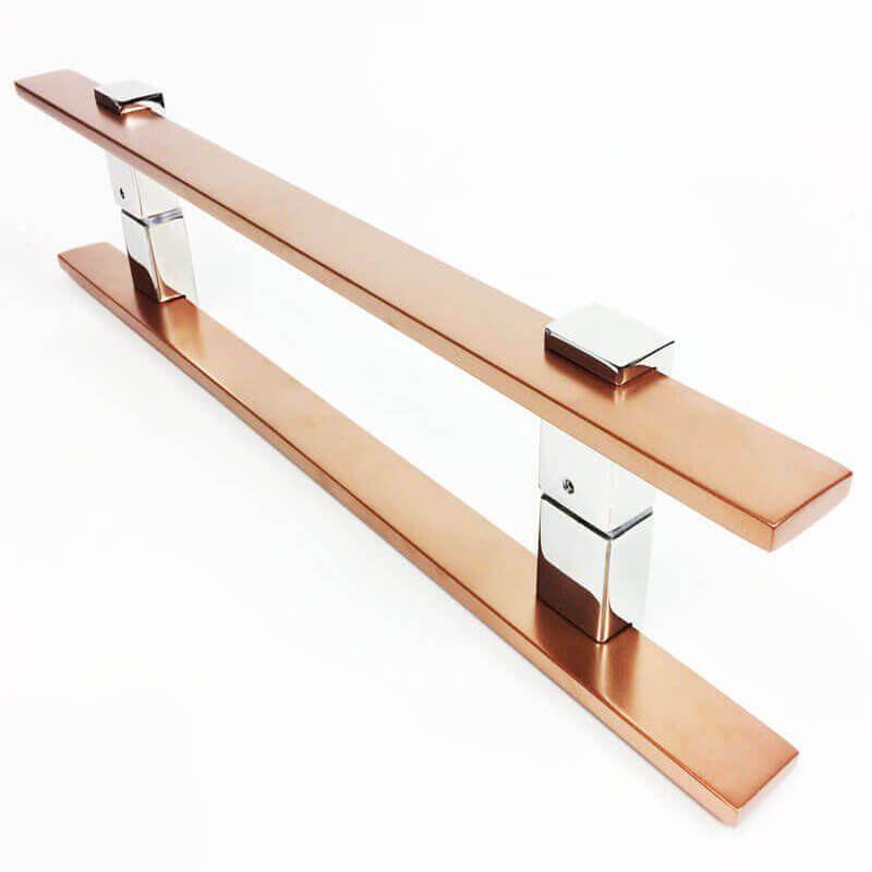 Puxador Portas Duplo Aço Inox Cobre Acetinado Luma 2 m para portas: pivotantes/madeira/vidro temperado/porta alumínio e portões   - Loja do Puxador
