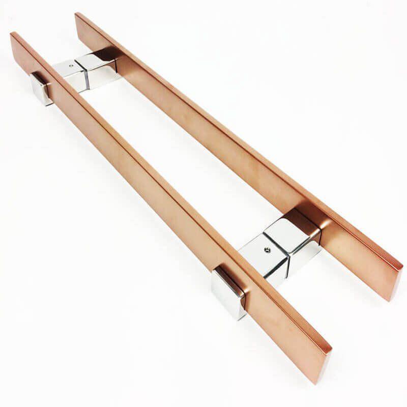 Puxador Portas Duplo Aço Inox Cobre Acetinado Luma 80 cm para portas: pivotantes/madeira/vidro temperado/porta alumínio e portões   - Loja do Puxador