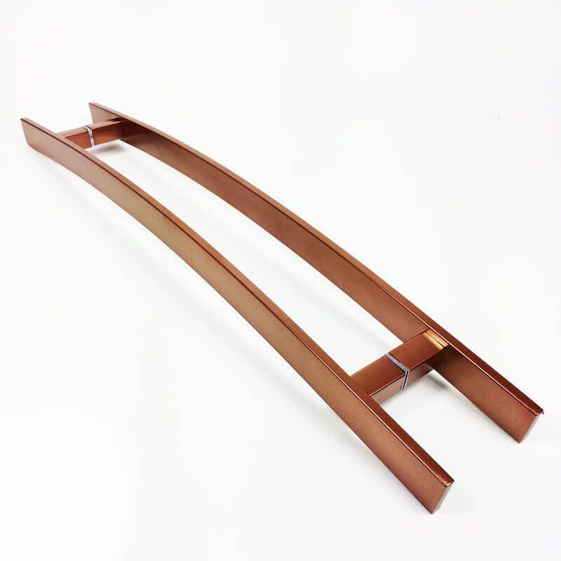 Puxador Portas Duplo Aço Inox Cobre Acetinado Novita 1,1 m para portas: pivotantes/madeira/vidro temperado/porta alumínio e portões.   - Loja do Puxador