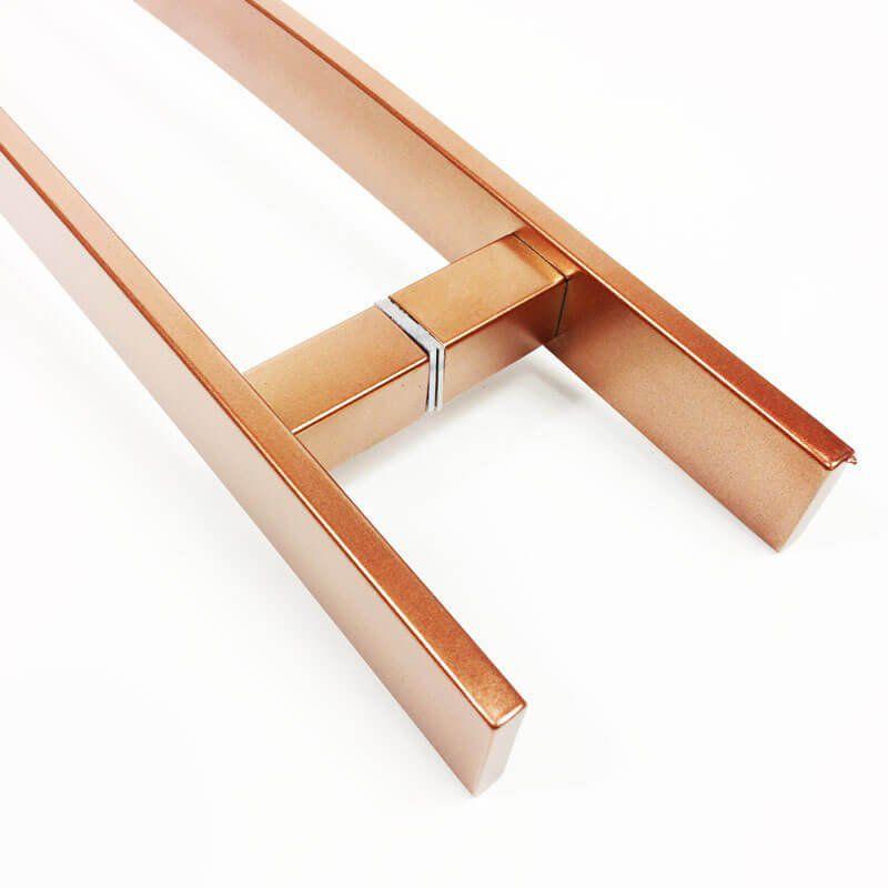 Puxador Portas Duplo Aço Inox Cobre Acetinado Novita 90 cm para portas: pivotantes/madeira/vidro temperado/porta alumínio e portões.   - Loja do Puxador