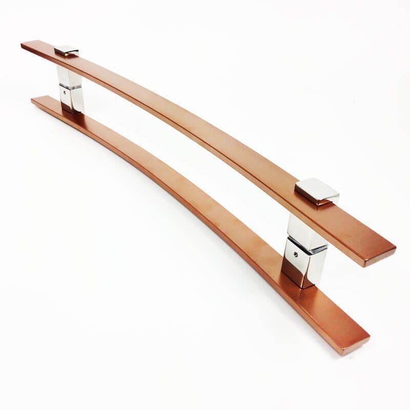 Puxador Portas Duplo Aço Inox Cobre Acetinado Paola 1 m para portas: pivotantes/madeira/vidro temperado/porta alumínio e portões.  - Loja do Puxador