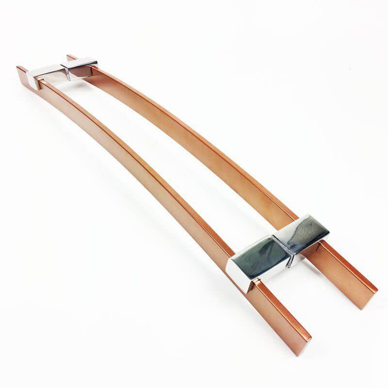 Puxador Portas Duplo Aço Inox Cobre Acetinado Paola 60 cm para portas: pivotantes/madeira/vidro temperado/porta alumínio e portões.  - Loja do Puxador