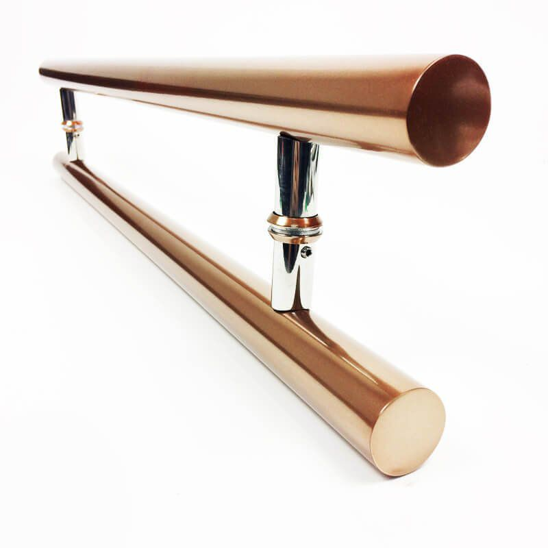 Puxador Portas Duplo Aço Inox Cobre Acetinado Pleno 1 m para portas: pivotantes/madeira/vidro temperado/porta alumínio e portões  - Loja do Puxador