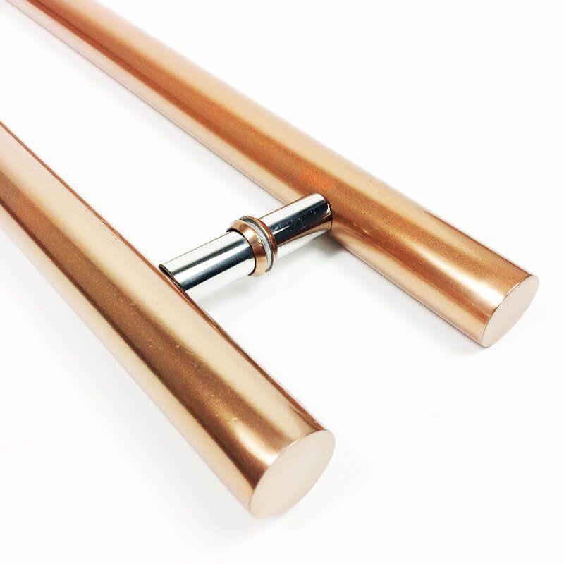 Puxador Portas Duplo Aço Inox Cobre Acetinado Pleno 60 cm para portas: pivotantes/madeira/vidro temperado/porta alumínio e portões  - Loja do Puxador