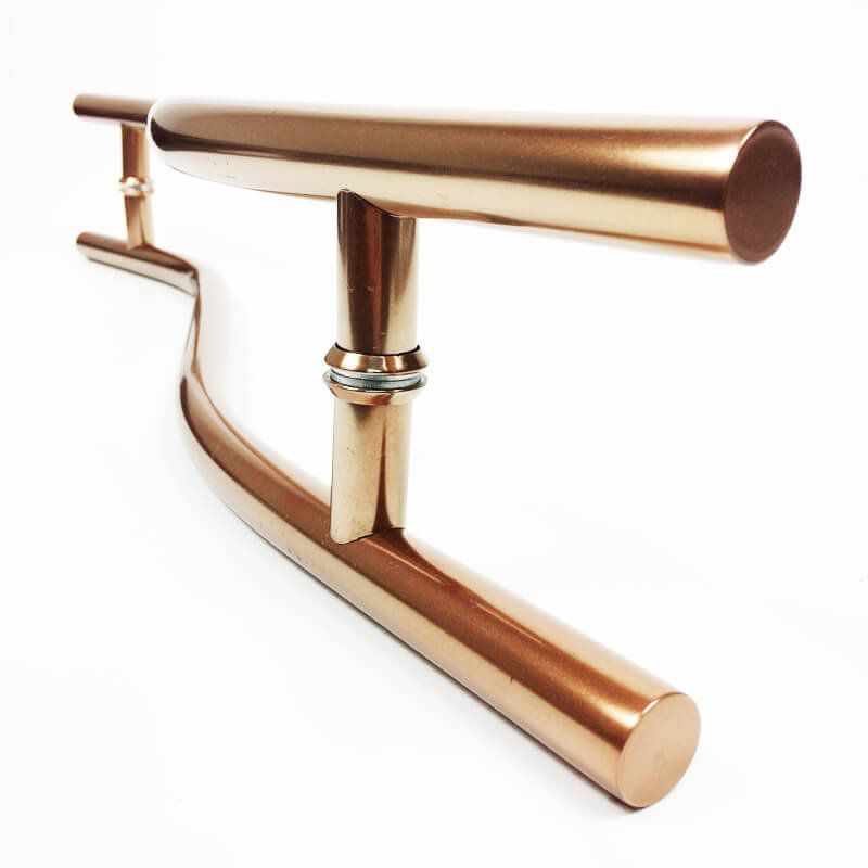 Puxador Portas Duplo Aço Inox Cobre Acetinado Safira 70 cm para portas: pivotantes/madeira/vidro temperado/porta alumínio e portões   - Loja do Puxador