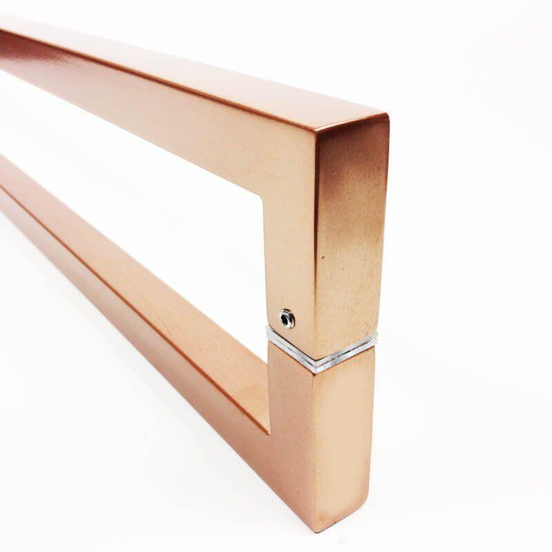 Puxador Portas Duplo Aço Inox Cobre Acetinado Slin 50 cm para portas: pivotantes/madeira/vidro temperado/porta alumínio e portões   - Loja do Puxador
