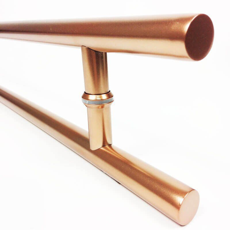 Puxador Portas Duplo Aço Inox Cobre Acetinado Soft 50 cm para portas: pivotantes/madeira/vidro temperado/porta alumínio e portões   - Loja do Puxador