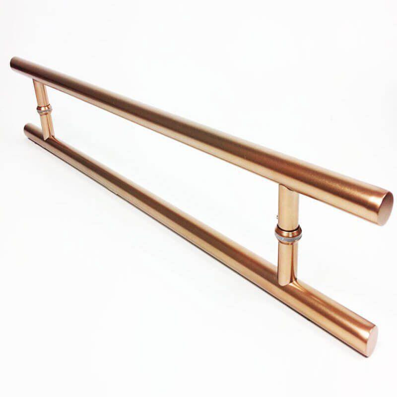 Puxador Portas Duplo Aço Inox Cobre Acetinado Soft 80 cm para portas: pivotantes/madeira/vidro temperado/porta alumínio e portões   - Loja do Puxador