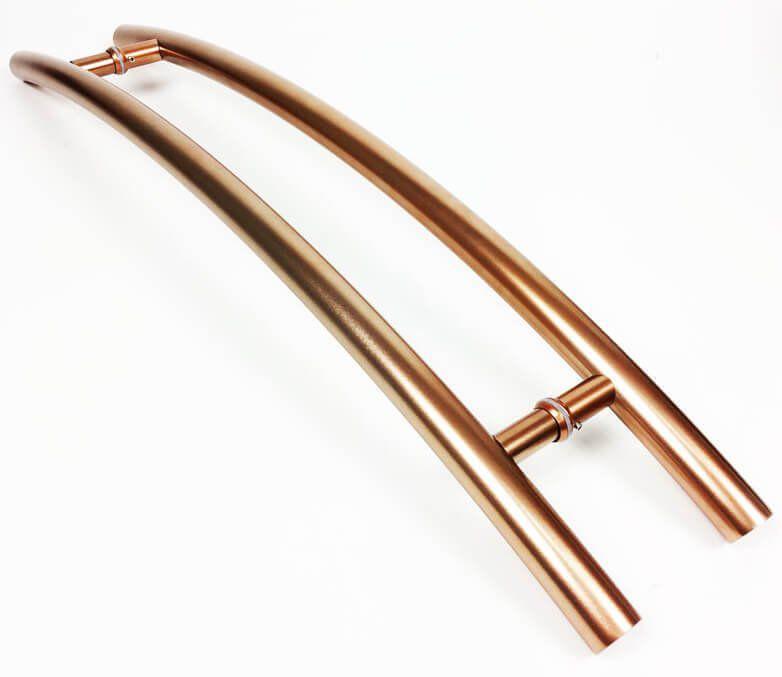 Puxador Portas Duplo Aço Inox Cobre Acetinado Solares 1,2 m para portas: pivotantes/madeira/vidro temperado/porta alumínio e portões  - Loja do Puxador