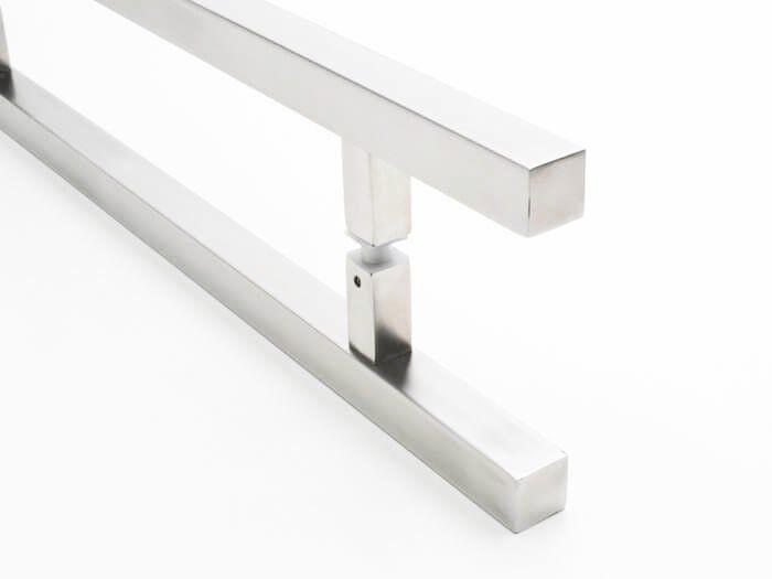 Puxador Portas Duplo Aço Inox Escovado Aristocrata 1 m para portas: pivotantes/madeira/vidro temperado/porta alumínio e portões   - Loja do Puxador