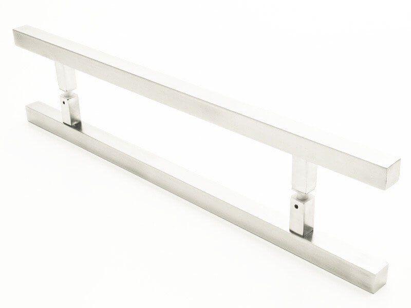 Puxador Portas Duplo Aço Inox Escovado Aristocrata 50 cm para portas: pivotantes/madeira/vidro temperado/porta alumínio e portões   - Loja do Puxador