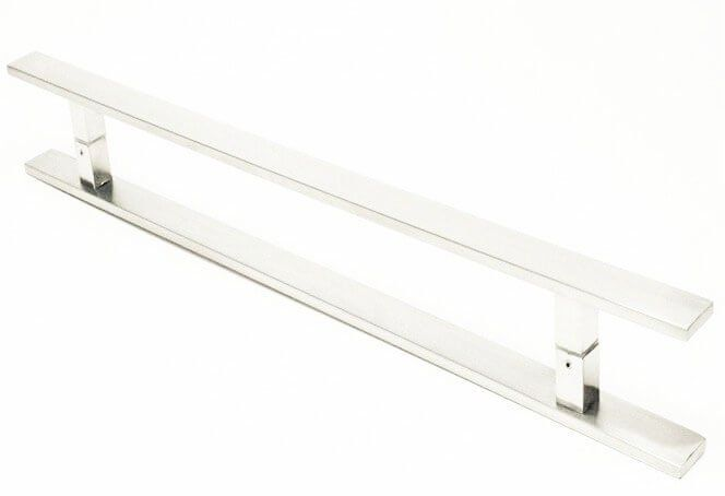 Puxador Portas Duplo Aço Inox Escovado Clean 2 m para portas: pivotantes/madeira/vidro temperado/porta alumínio e portões  - Loja do Puxador