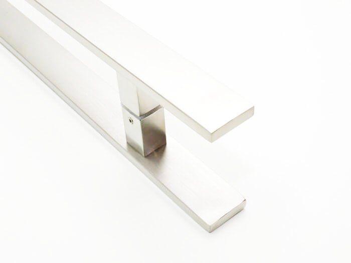 Puxador Portas Duplo Aço Inox Escovado Clean 50 cm para portas: pivotantes/madeira/vidro temperado/porta alumínio e portões   - Loja do Puxador