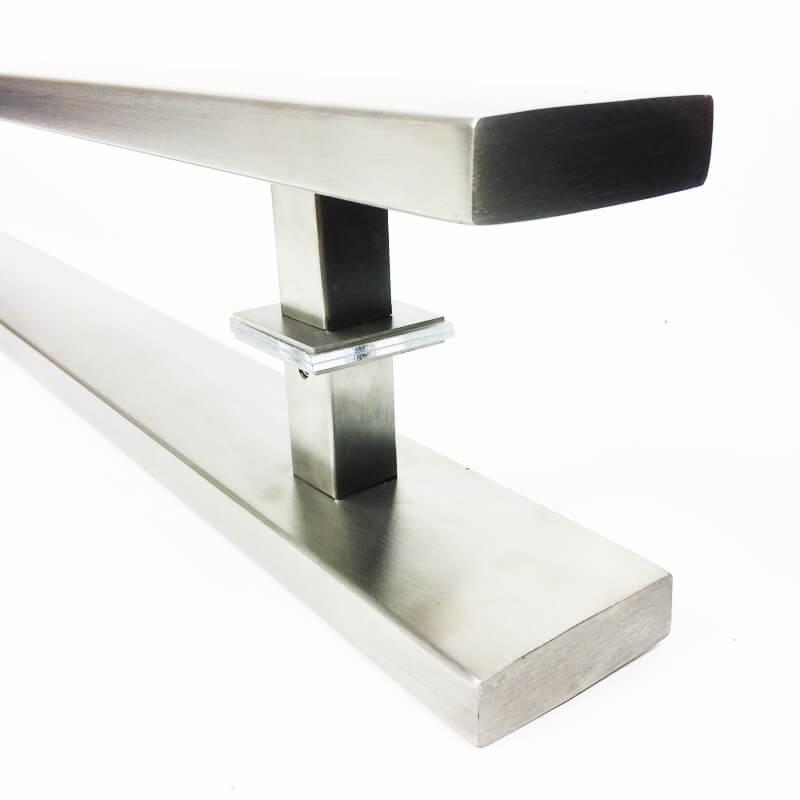 Puxador Portas Duplo Aço Inox Escovado Grand Clean 90 cm para portas: pivotantes/madeira/vidro temperado/porta alumínio e portões   - Loja do Puxador