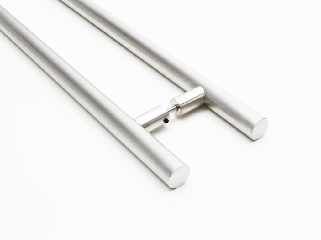 Puxador Portas Duplo Aço Inox Escovado Grand Soft 60 cm para portas: pivotantes/madeira/vidro temperado/porta alumínio e portões   - Loja do Puxador