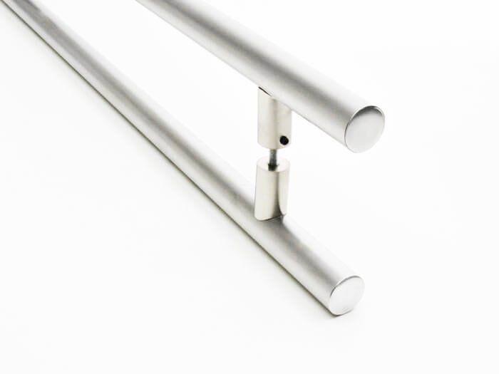Puxador Portas Duplo Aço Inox Escovado Grand Soft 80 cm para portas: pivotantes/madeira/vidro temperado/porta alumínio e portões  - Loja do Puxador