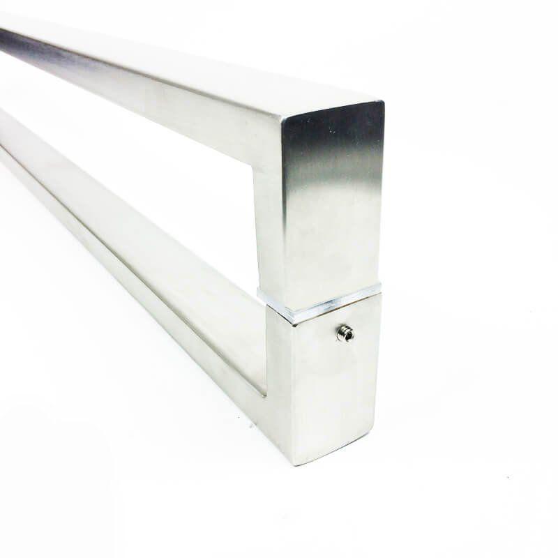 Puxador Portas Duplo Aço Inox Escovado Greco 1,1 m para portas: pivotantes/madeira/vidro temperado/porta alumínio e portões   - Loja do Puxador