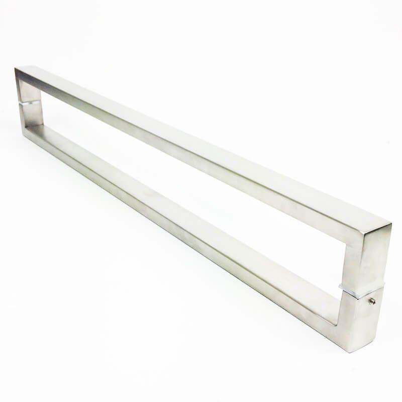 Puxador Portas Duplo Aço Inox Escovado Greco 1,8 m para portas: pivotantes/madeira/vidro temperado/porta alumínio e portões   - Loja do Puxador
