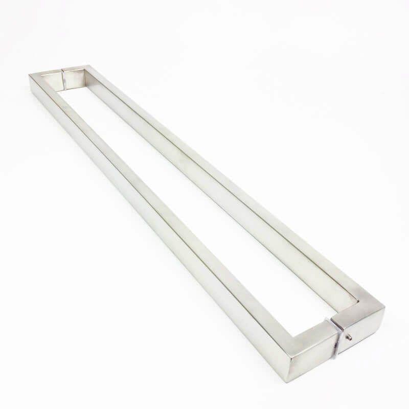 Puxador Portas Duplo Aço Inox Escovado Greco 1 m para portas: pivotantes/madeira/vidro temperado/porta alumínio e portões   - Loja do Puxador