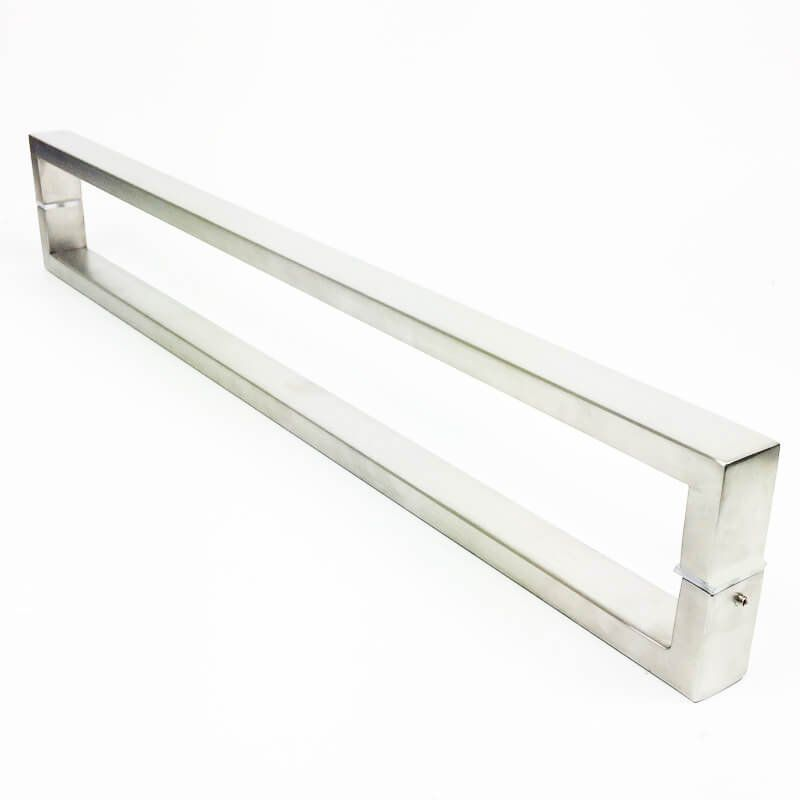 Puxador Portas Duplo Aço Inox Escovado Greco 60 cm para portas: pivotantes/madeira/vidro temperado/porta alumínio e portões   - Loja do Puxador