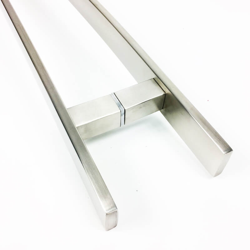 Puxador Portas Duplo Aço Inox Escovado Novita 1,1 m para portas: pivotantes/madeira/vidro temperado/porta alumínio e portões.   - Loja do Puxador