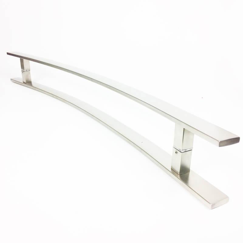 Puxador Portas Duplo Aço Inox Escovado Novita 1,2 m para portas: pivotantes/madeira/vidro temperado/porta alumínio e portões.   - Loja do Puxador