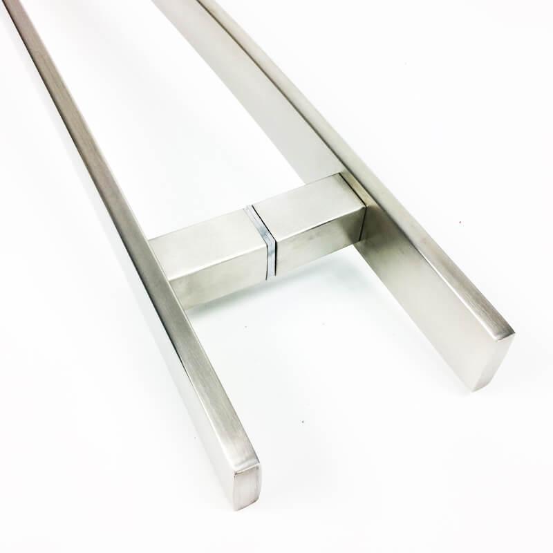 Puxador Portas Duplo Aço Inox Escovado Novita 1,5 m para portas: pivotantes/madeira/vidro temperado/porta alumínio e portões.   - Loja do Puxador