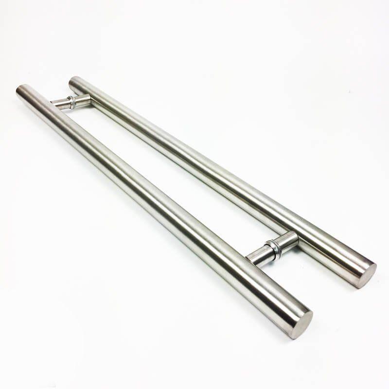 Puxador Portas Duplo Aço Inox Escovado Pleno 1,1 m para portas: pivotantes/madeira/vidro temperado/porta alumínio e portões  - Loja do Puxador